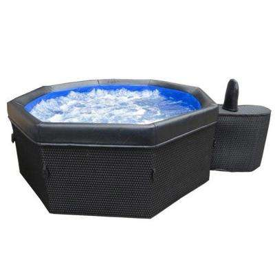 5-Person Portable Bali Spa with Dark Brown Wicker-Style Skin