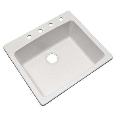 Northbrook Drop-In Composite Granite 25 in. 4-Hole Single Bowl Kitchen Sink in White