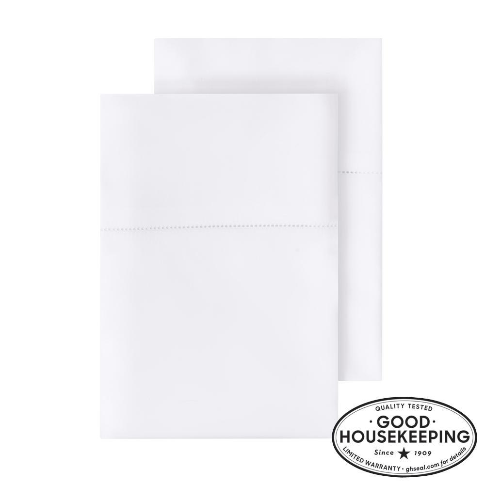 500 Thread Count Egyptian Cotton Sateen Standard Pillowcase in White (Set of 2)