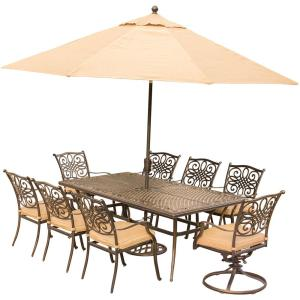 Hanover 9-Piece Outdoor Dining Set with Rectangular Cast Table and 2 Swivels... by Hanover