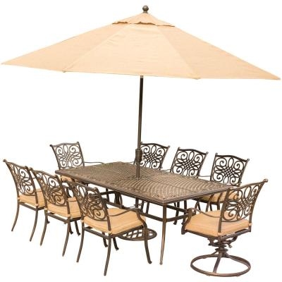 9-Piece Outdoor Dining Set with Rectangular Cast Table and 2 Swivels with Natural Oat Cushions, Umbrella and Base
