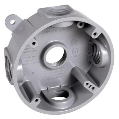 4 in. Gray Round Weatherproof Box with Five 1/2 in. or 3/4 in. Outlets