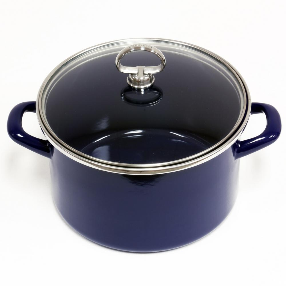 4 Qt. Enamel-On-Steel Soup Pot with Glass Lid in Cobalt Blue
