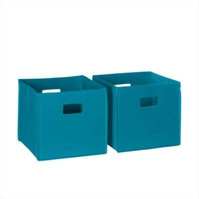 10.5 in. x 10 in. Folding Storage Bin Set in Turquoise (2-Piece)