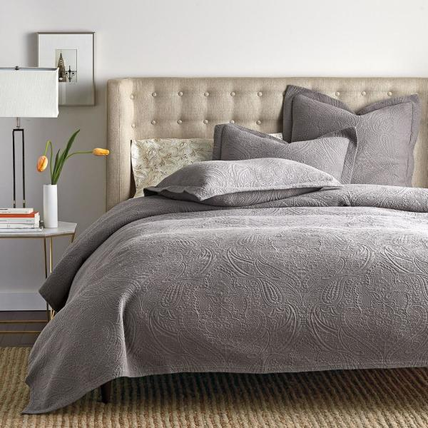 The Company Store Hillcrest Matelasse Steel Gray King Coverlet 50172Q-K-STL-GRAY