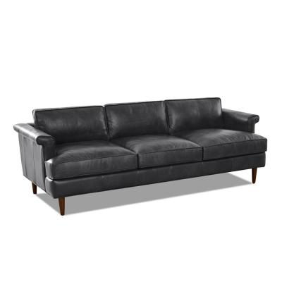 Malcolm 87 in. Charcoal Leather 3-Seater Lawson Sofa with Square Arms