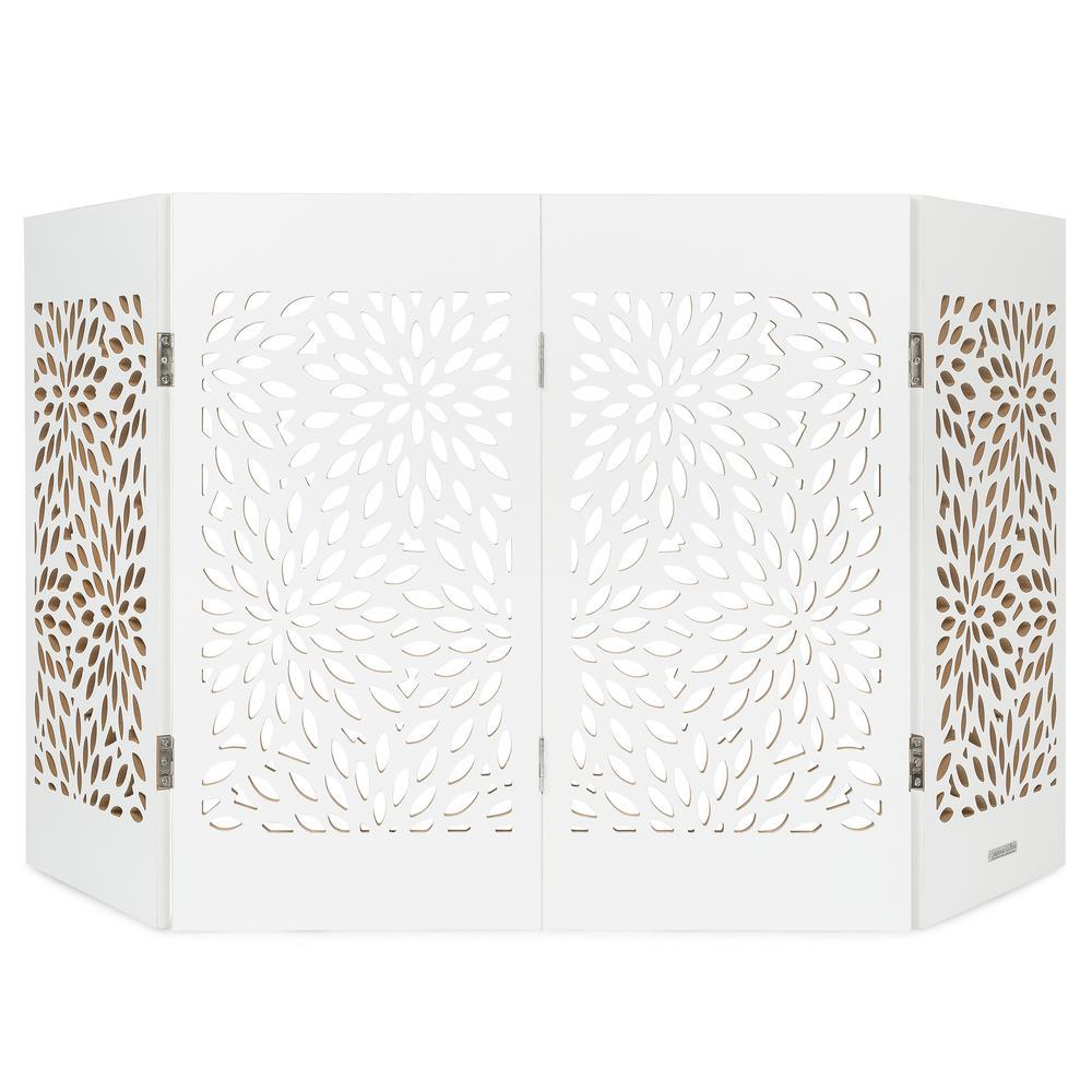 Decorative Freestanding Pet Gate, White Starburst
