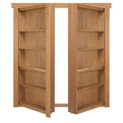 72 in. x 80 in. Flush Mount Assembled Oak Natural Stained Out-Swing Solid Core Interior French Bookcase Door