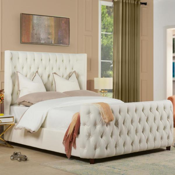 Antique White Queen Brooklyn Tufted Headboard Bed