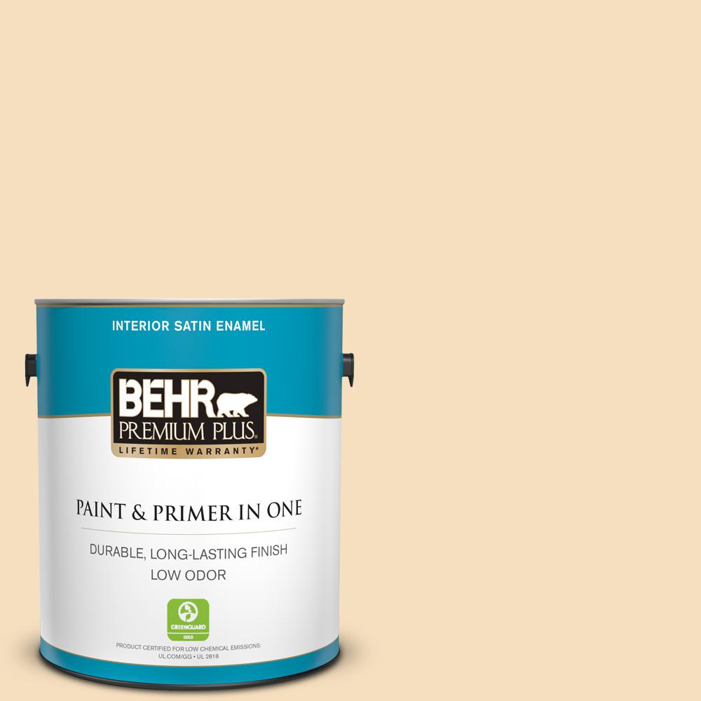 BEHR Premium Plus 1 gal. #310E-2 Stable Hay Satin Enamel Low Odor Interior Paint and Primer in One