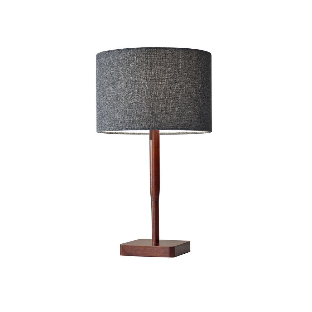Ellis 21 in. Walnut Rubberwood Table Lamp