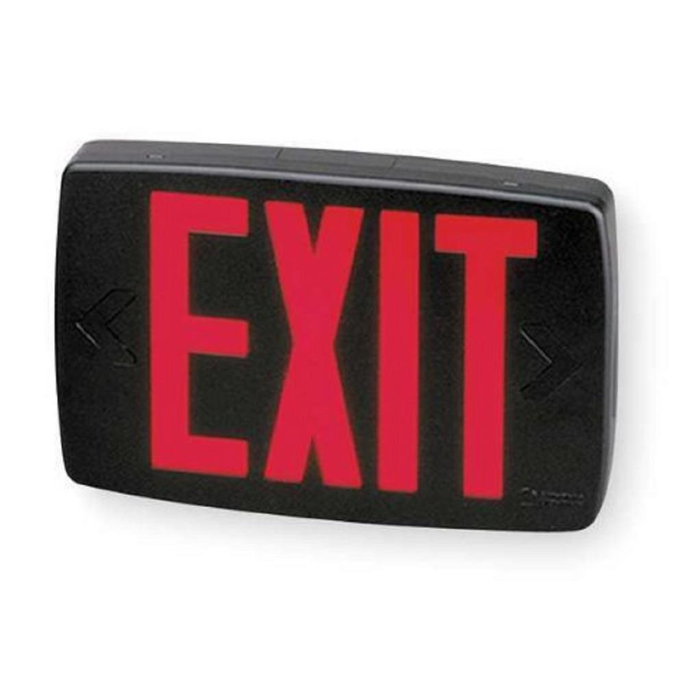 Quantum 1-Light Red Stencil 1-Watt Matte Black Integrated LED Exit Sign