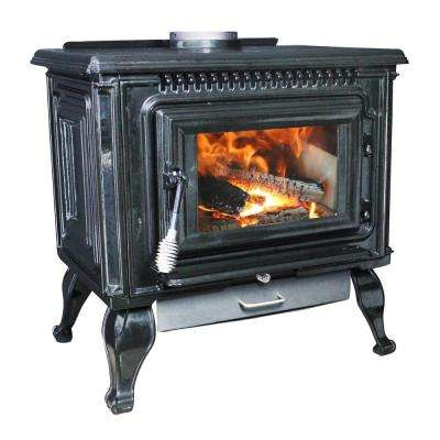 2,000 sq. ft. EPA Certified Black Enameled Porcelain Cast Iron Wood Stove with Blower
