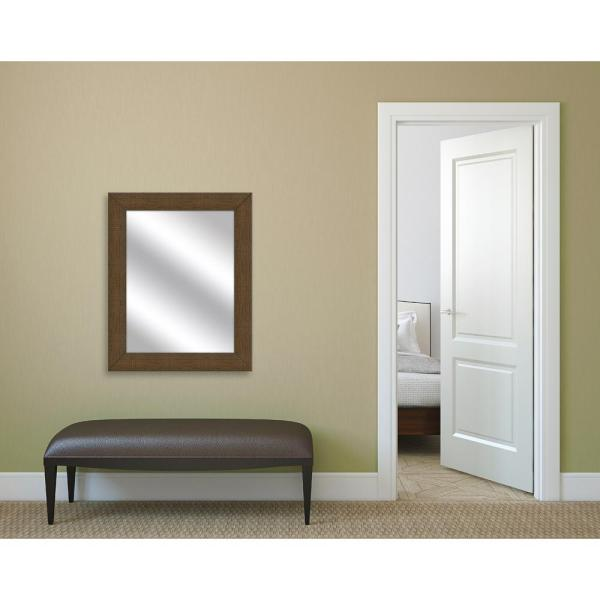PTM Images 31.5 in. x 25.5 in. Natural Brown Framed Mirror