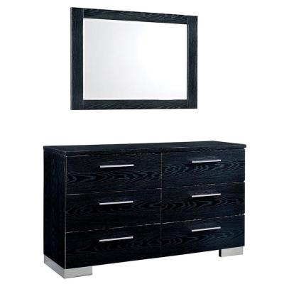 42.38 in. H x 17.75 in. W x 57.25 in. D Christie Black Dresser and Mirror Set 6-Drawers