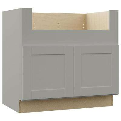Shaker Assembled 36x34.5x24 in. Farmhouse Apron-Front Sink Base Kitchen Cabinet in Dove Gray