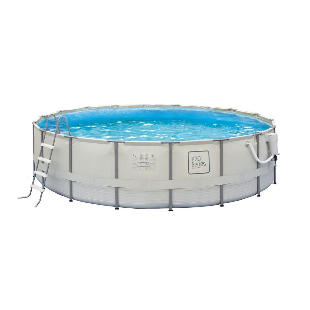 Polygroup PRO Series 24 ft. Round 52 in. Deep Metal Frame Swimming Pool Package