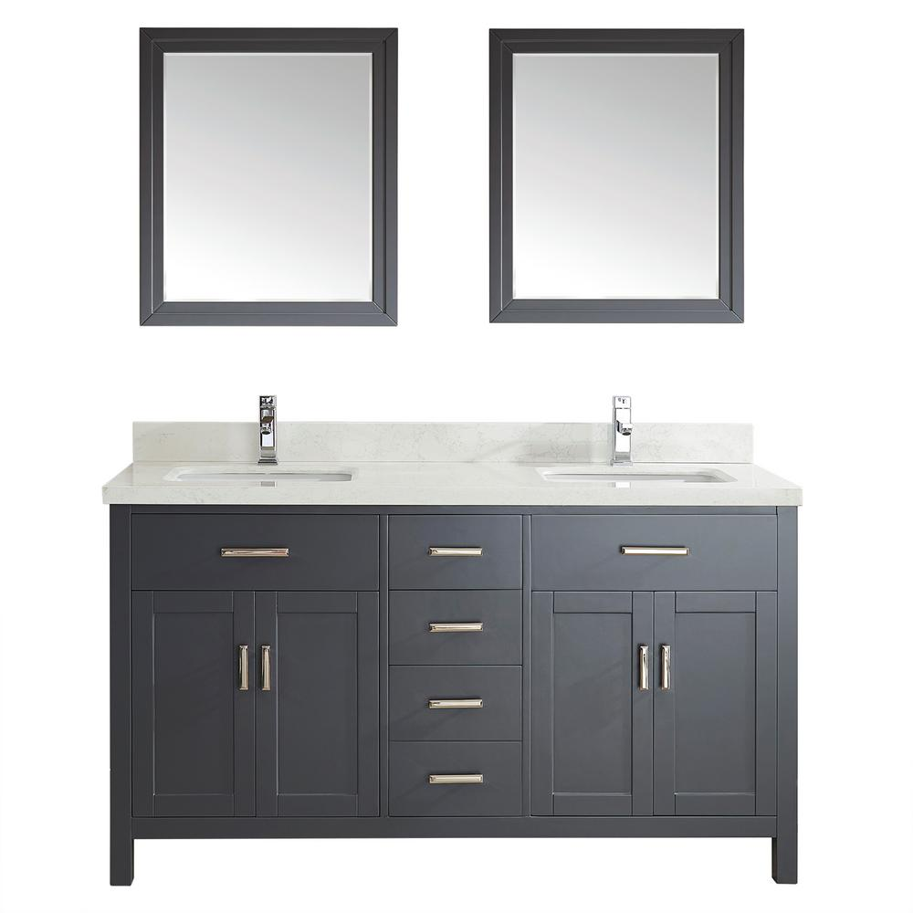 Studio Bathe Kalize II 63 in. W x 22 in. D Vanity in Pepper Gray with Engineered Vanity Top in White with White Basin and Mirror