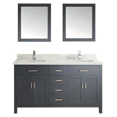 Kalize II 63 in. W x 22 in. D Vanity in Pepper Gray with Engineered Vanity Top in White with White Basin and Mirror
