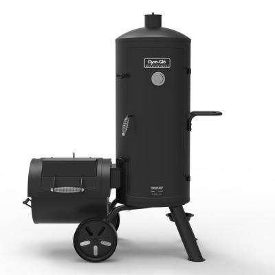 Signature Series Heavy Duty Vertical Offset Charcoal Smoker and Grill in Black