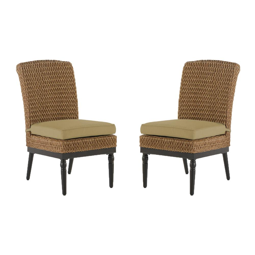 Camden Light Brown Seagrass Wicker Outdoor Patio Armless Dining Chair with Sunbrella Beige Tan Cushions (2-Pack)