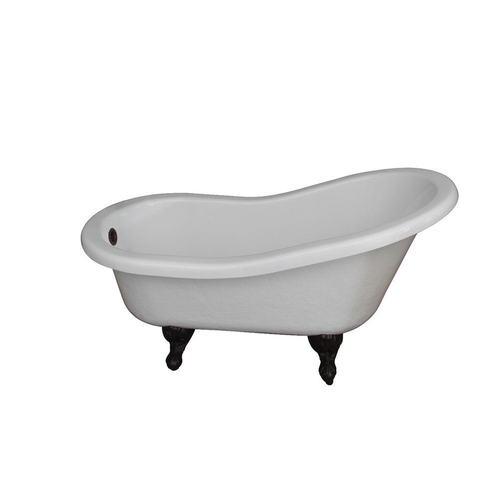 clawfoot baby bath tub. Acrylic Claw Foot Slipper Tub in White with Oil Bisque  Freestanding Bathtubs The Home Depot