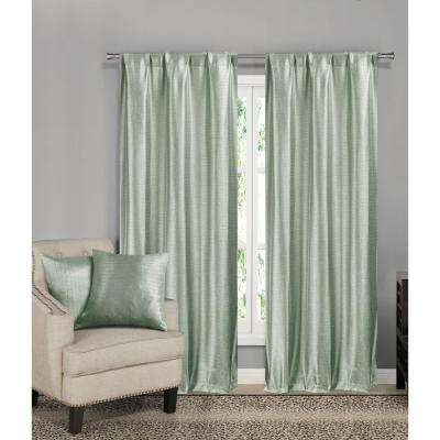 Erinne Pale Mint Pole Top Pair with 2-Dec Pillow - 38 in. W x 84 in. L (2-Piece) and 18 in. W x 18 in. L (2-Piece)