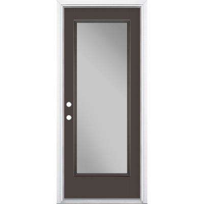 32 in. x 80 in. Full Lite Willow Wood Right-Hand Inswing Painted Smooth Fiberglass Prehung Front Door w/ Brickmold