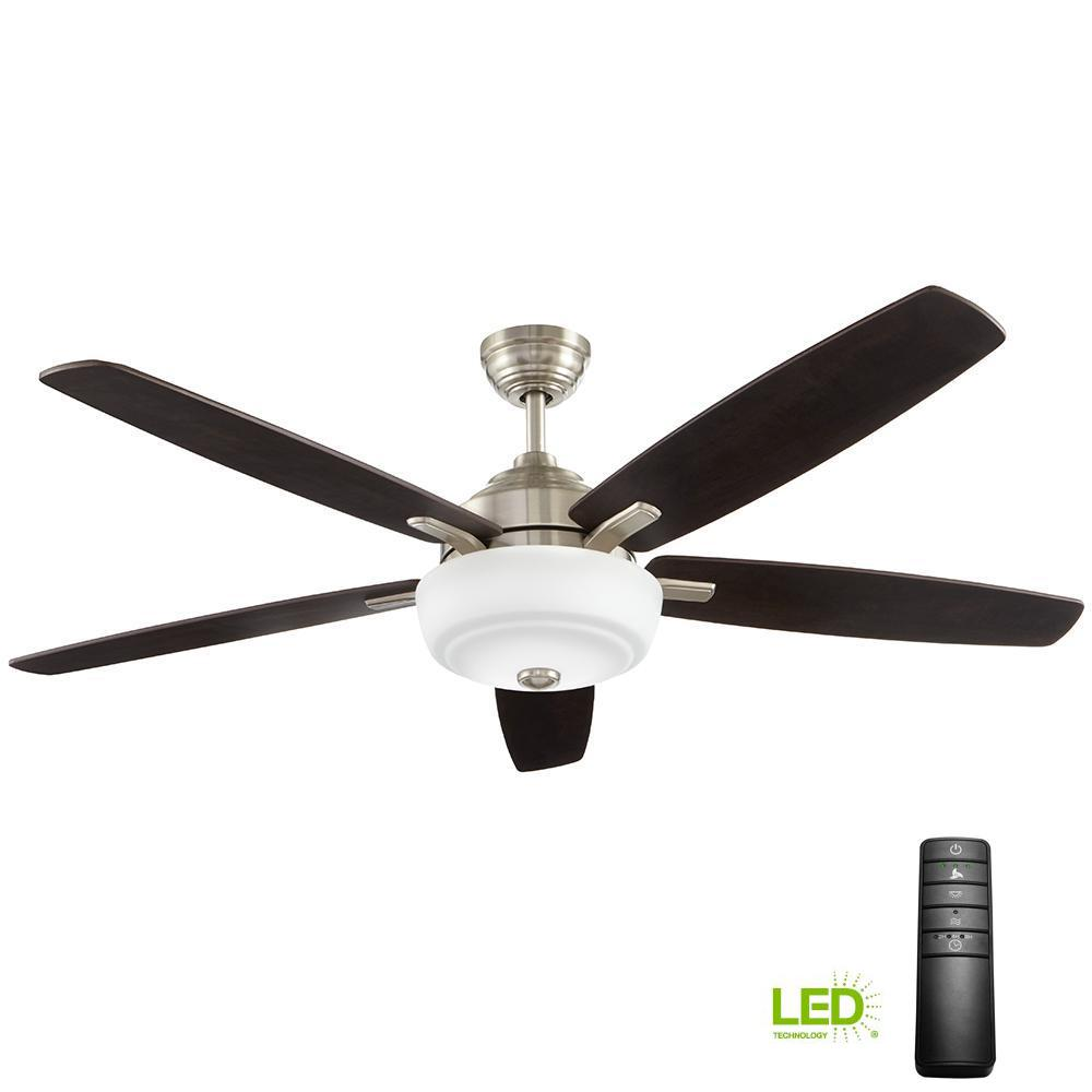 b3bd89ff339 Home Decorators Collection Sudler Ridge 60 in. LED Indoor Brushed Nickel  Ceiling Fan with Light