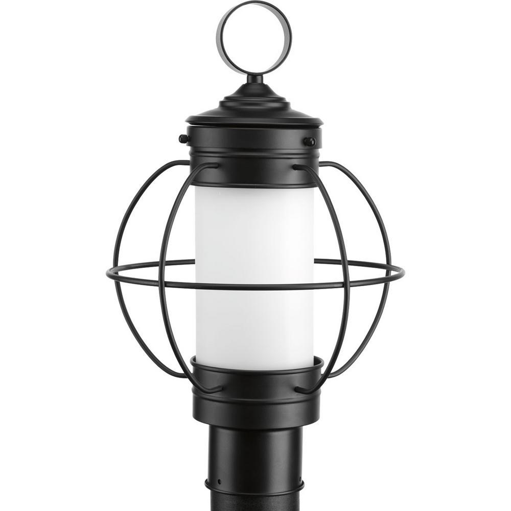 Progress Lighting Haddon Collection 1-Light Outdoor Black Post Lamp