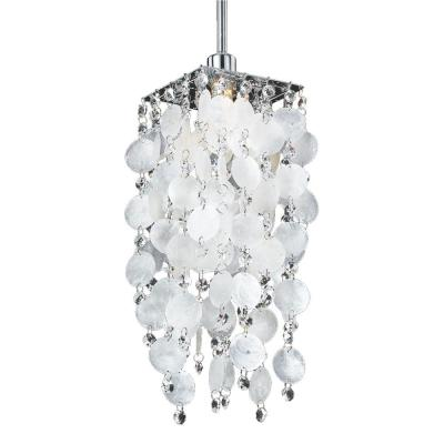 1-Light Capiz Shell Mini Pendant with Crystal Accents