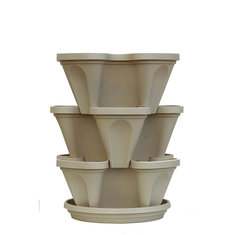 Mr. Stacky 12 in x 5.5 in. Stone Plastic Vertical Stackable Planter (3-Pack)