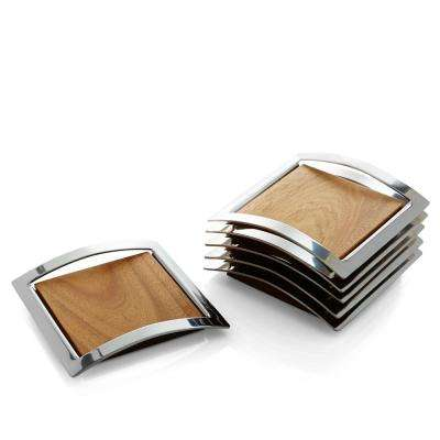 Mikko 6-Piece Stainless and Wood Coaster Set