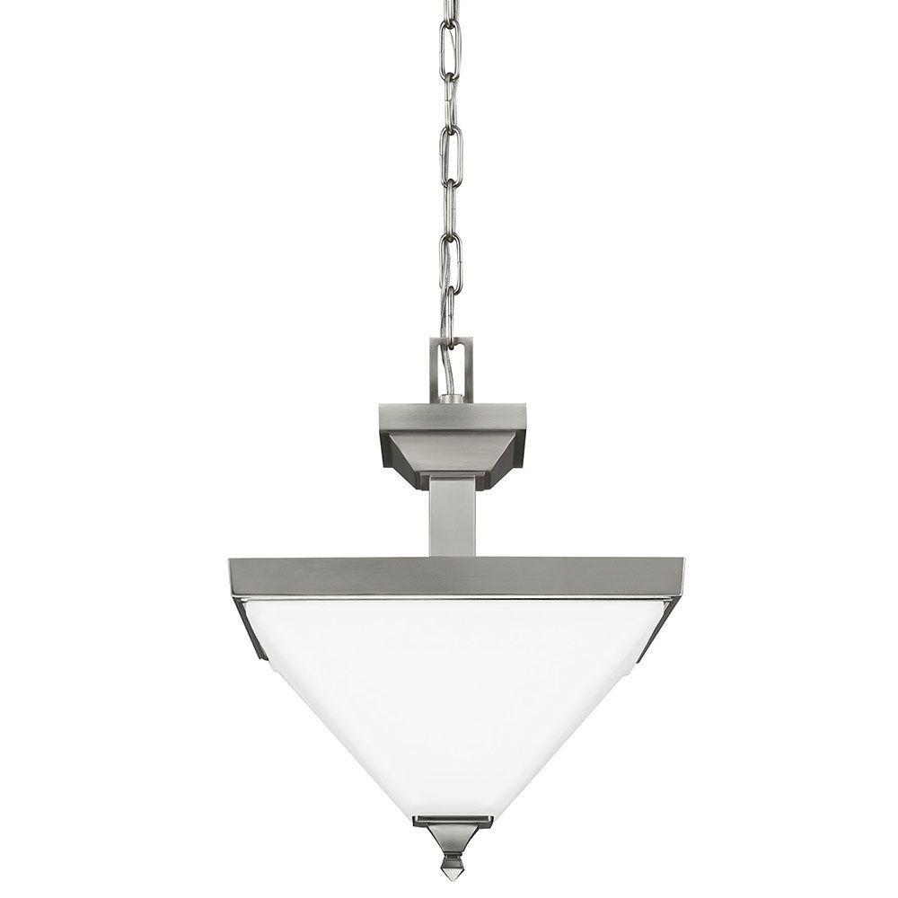 Sea Gull Lighting Denhelm 2-Light Brushed Nickel Semi-Flush Mount Convertible Pendant with Inside White Painted Etched Glass