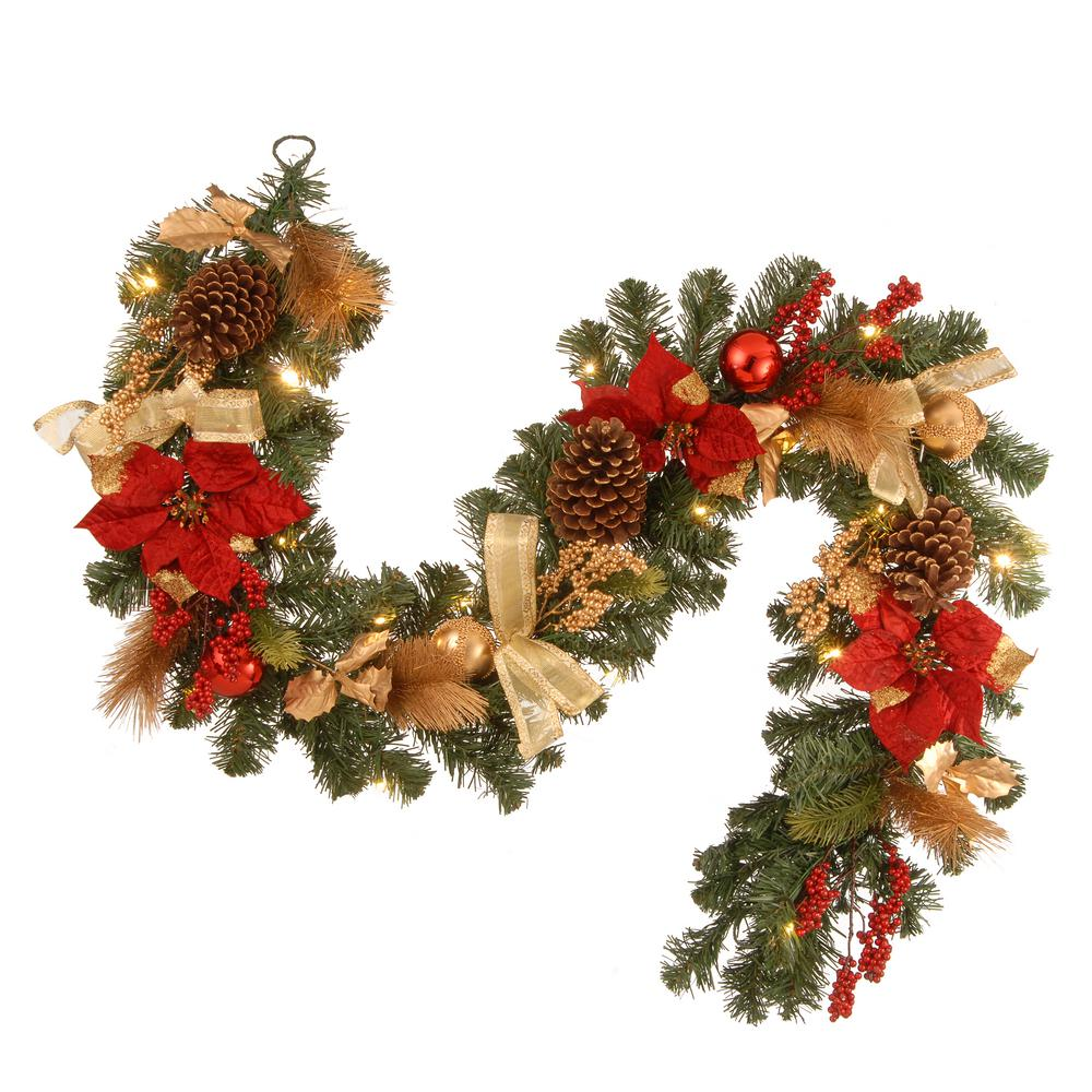 Decorative Garland With Ornaments Berries Cones Red Ribbon Poinsettias And 20 Led Lights
