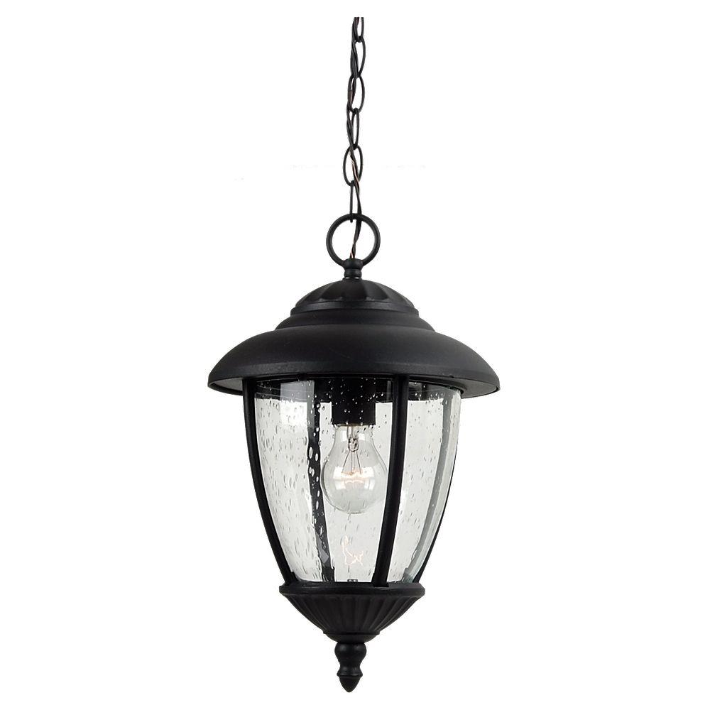 Porch Light Pendant: Sea Gull Lighting Lambert Hill 1-Light Black Outdoor