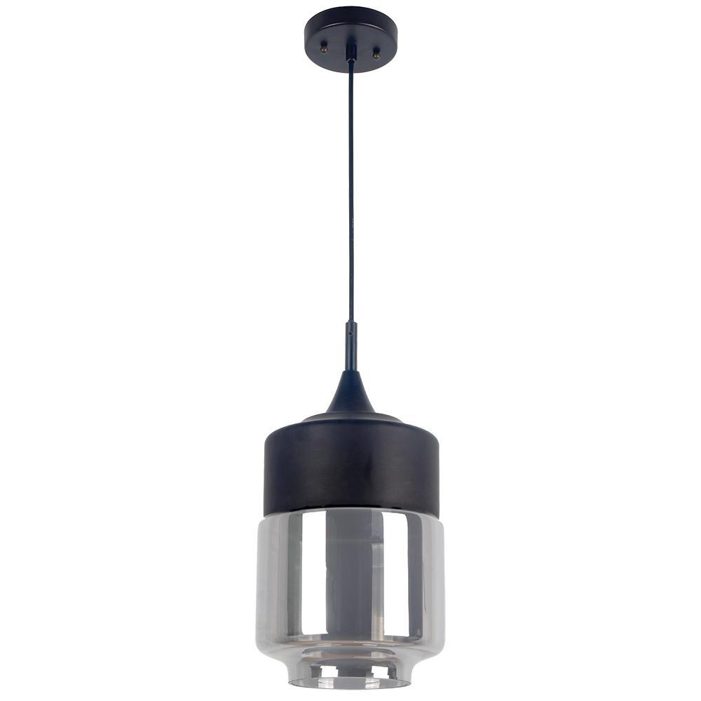 Popoli Collection 1-Light Black Pendant and Smoked Glass