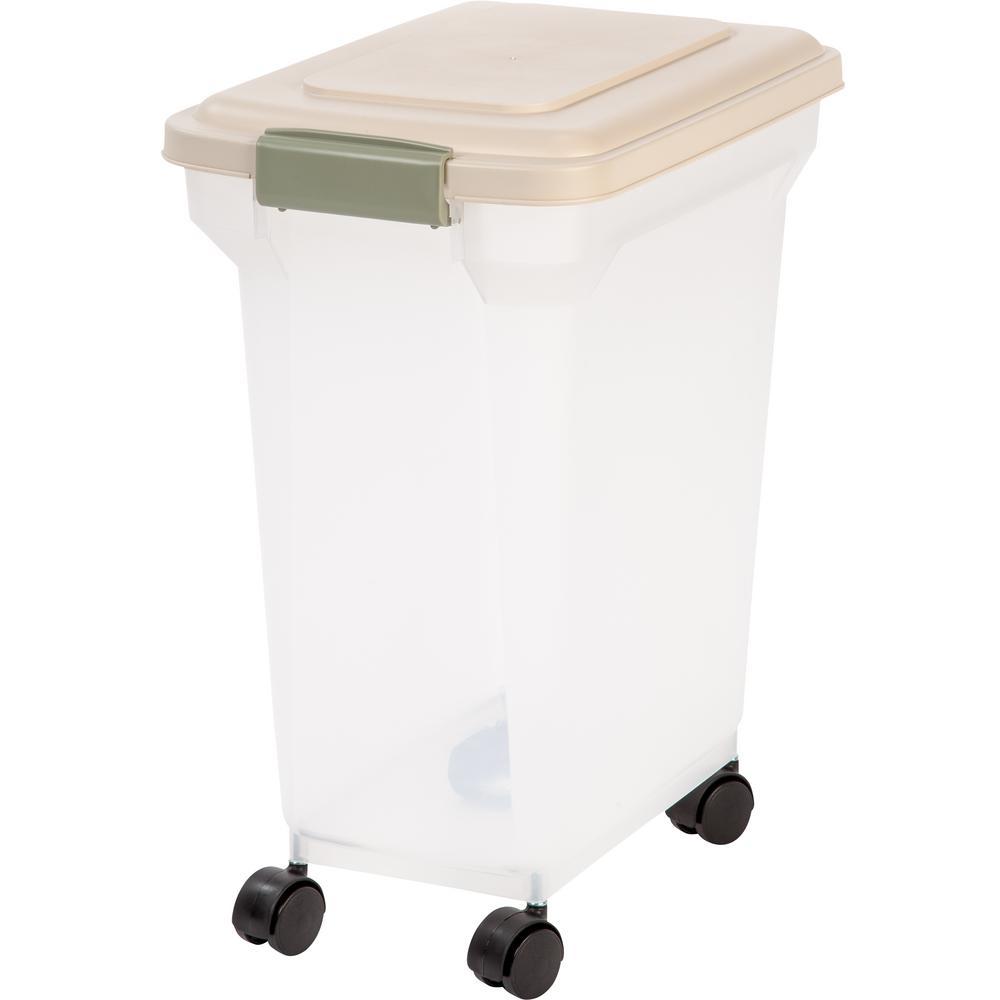 IRIS 28 Qt. Airtight Pet Food Storage in Almond, Brown