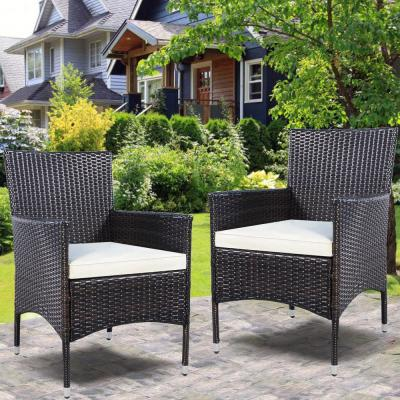 Brown Wicker Outdoor Chaise Lounge with Beige Cushions (Set of 2)