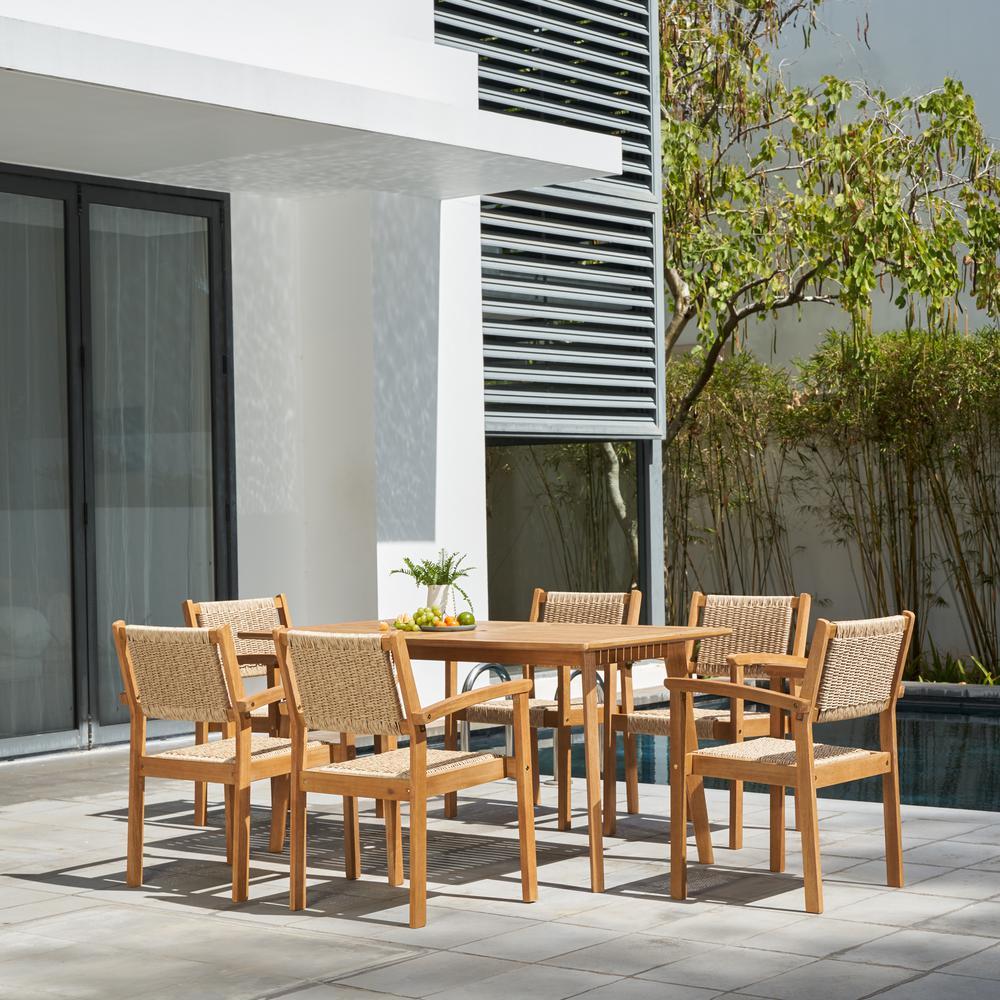 Chesapeake 7-Piece Wood Rectangular Outdoor Dining Set