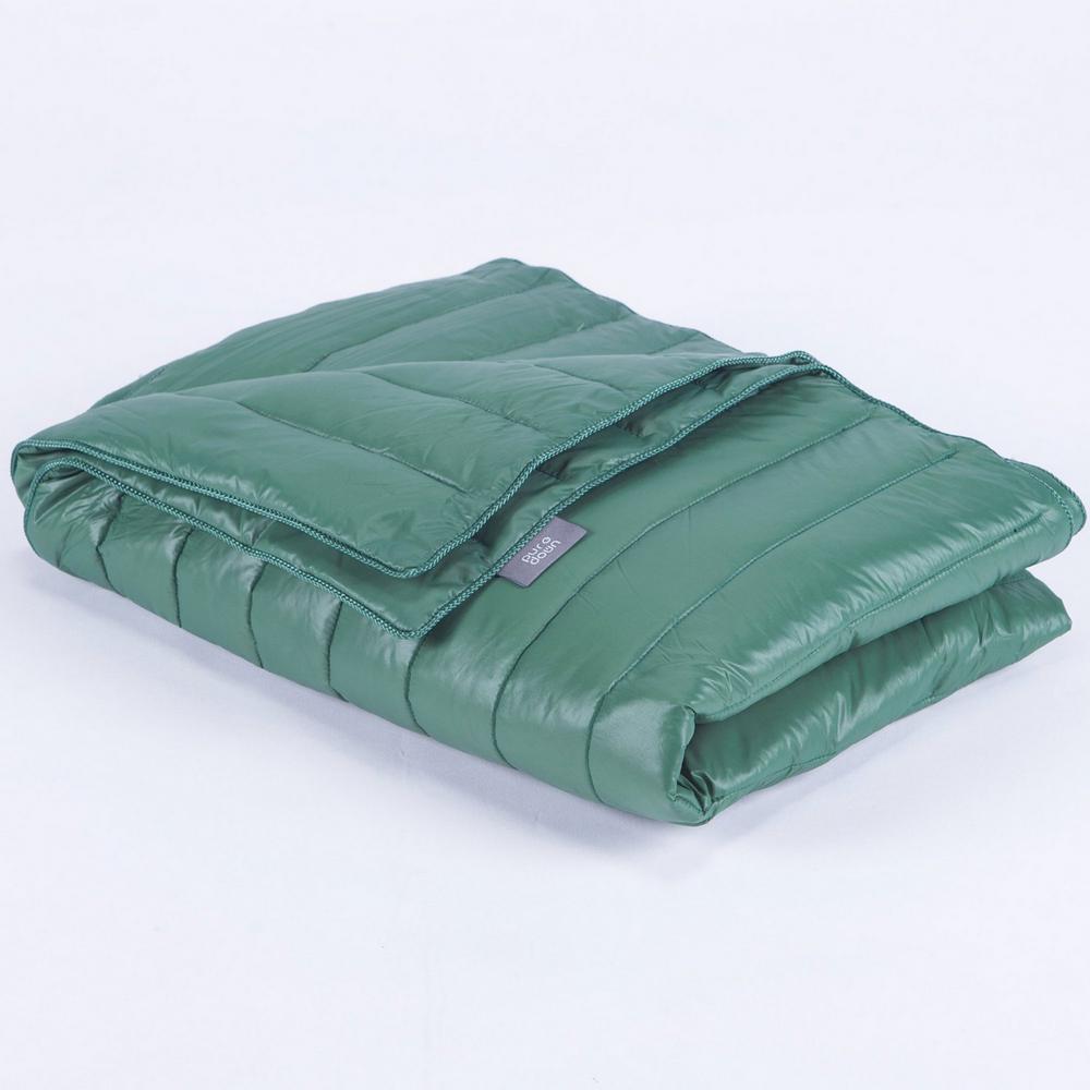 Green Nylon Waterproof White Goose Down Indoor/Outdoor Camping Blanket