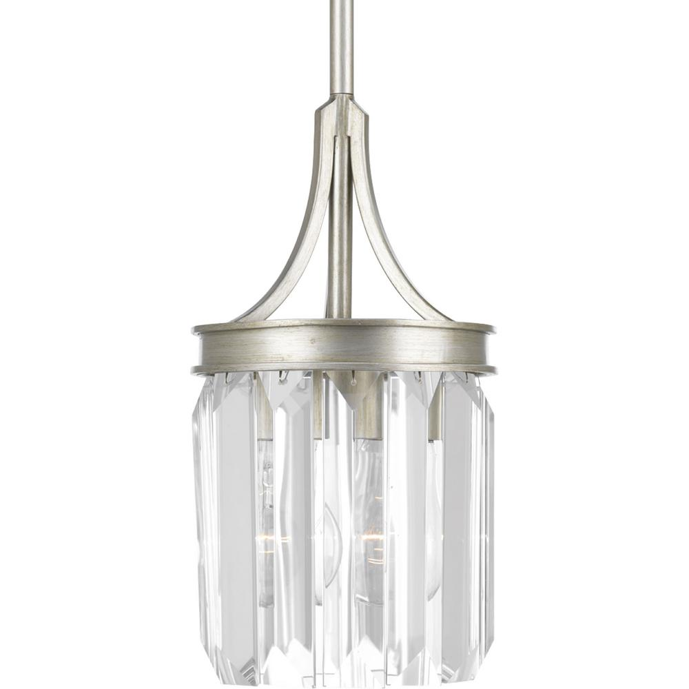 Progress lighting glimmer collection 1 light silver ridge mini progress lighting glimmer collection 1 light silver ridge mini pendant with clear glass p5320 134 the home depot arubaitofo Image collections