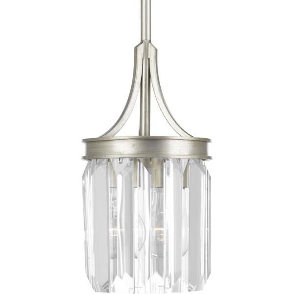 Glimmer Collection 1-Light Silver Ridge Mini Pendant with Clear Glass
