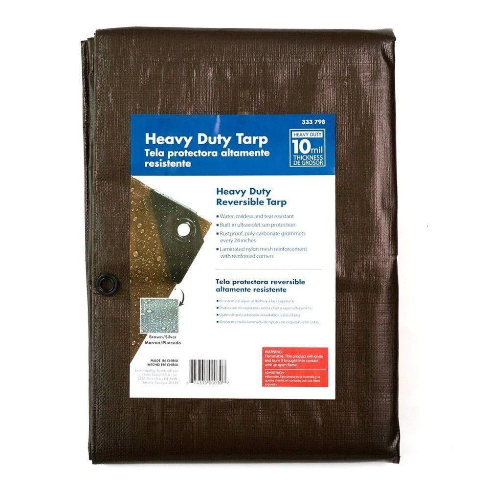 6 ft x 8 ft silver and brown heavy duty tarp