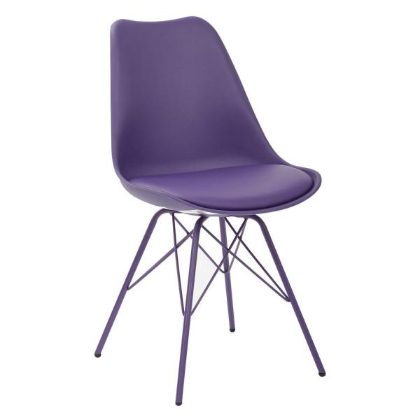 OSP Home Furnishings Emerson Purple Side Chair with 4-Leg Base (2