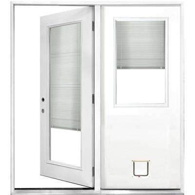 72 in. x 80 in. Mini-Blind White Primed Prehung Right-Hand Inswing Fiberglass Center Hinge Patio Door with Cat Door