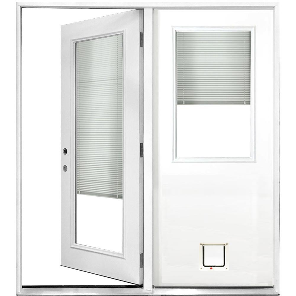 60 in. x 80 in. Mini-Blind White Primed Prehung Right-Hand Inswing Fiberglass Center Hinge Patio Door with Cat Pet Door