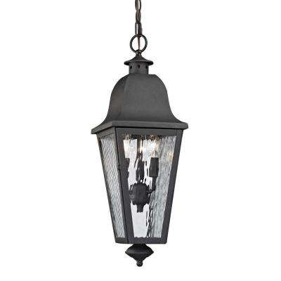 Ipswich Forge Collection 3-Light Charcoal Outdoor Pendant