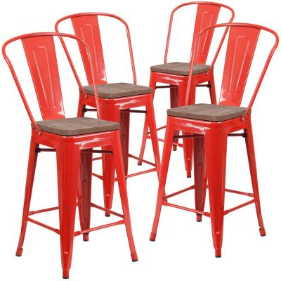 24.25 in. Red Bar Stool (4-Pack)