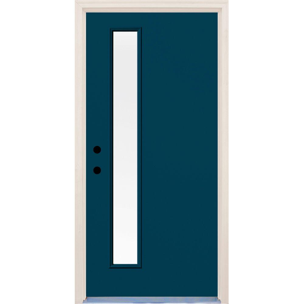 36 in. x 80 in. Atlantis 1 Lite Clear Glass Painted